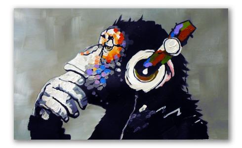 Chimpancé con música, obra moderna