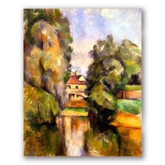 Casa de campo con un río